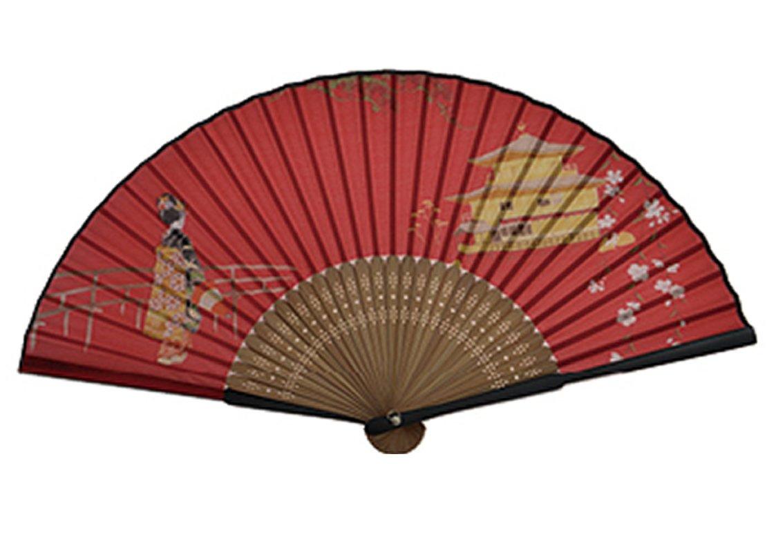 ASAO Hand Made Artisan Womens Silk Sensu Folding Fan 8.7 In 30 Folds Kinkakuji And Maiko Red