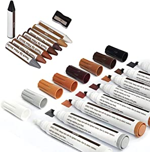 17pcs Wood Furniture Repair Kit Wood Markers Touch Up Pen and Wax Sticks with Sharpener Wood Filler Floor Scratch Restore Kits Repair Crayons for Stains,Scratches,Wood Floors,Tables,Desks,Carpenters