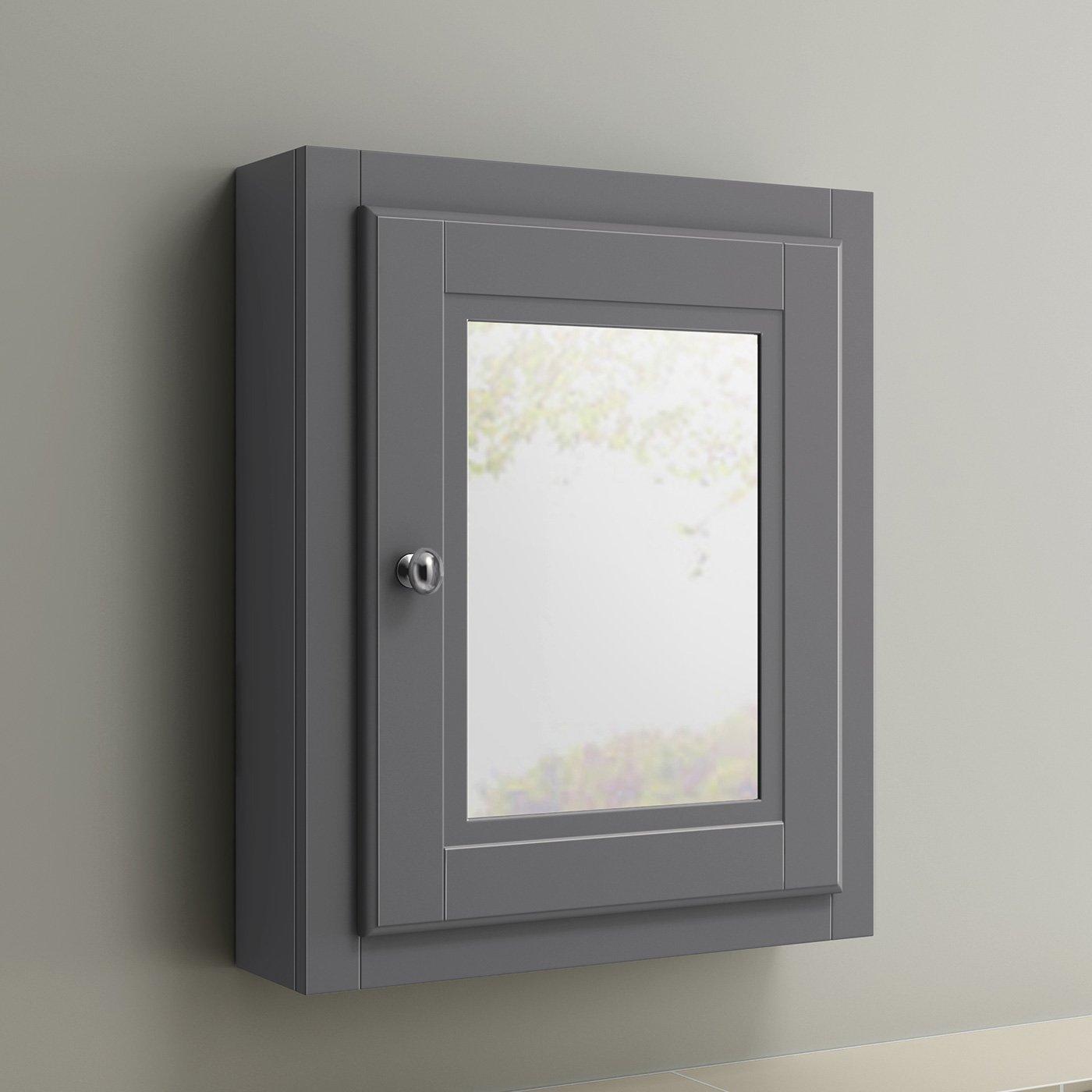 600 x 500 Traditional Grey Wall Hung Single Door Bathroom Mirror Cabinet iBathUK