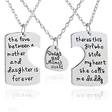 Amazon 3pcs family pendant necklace set father and mother i 3pcs family pendant necklace set father and mother i love u gift for daughter dad negle Image collections