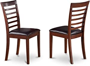 East West Furniture MLC-MAH-LC Kitchen Chair Set with Faux Leather Seat, Mahogany Finish, Set of 2
