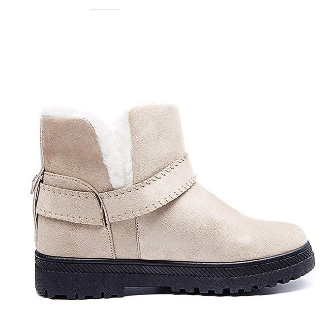 ZODOF Botas de Nieve para Mujer Zapatos con cuñas para Mujeres Botas de Nieve Botas con Correa de Hebilla de Gamuza Punta Redonda Mantener los Zapatos ...