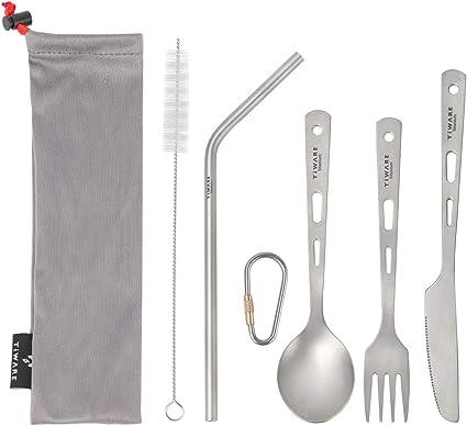 TOAKS Ultralight Titanium Tableware Outdoor Flatware Cutlery Fork and Spoon