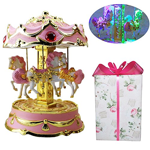 YCAMMIN LK-WORLD Music Box Music Box Color Change LED Light Luminous Rotating LED Light Luminous 3-Horse Carousel Musical Box(Pink) (Light Carousel)