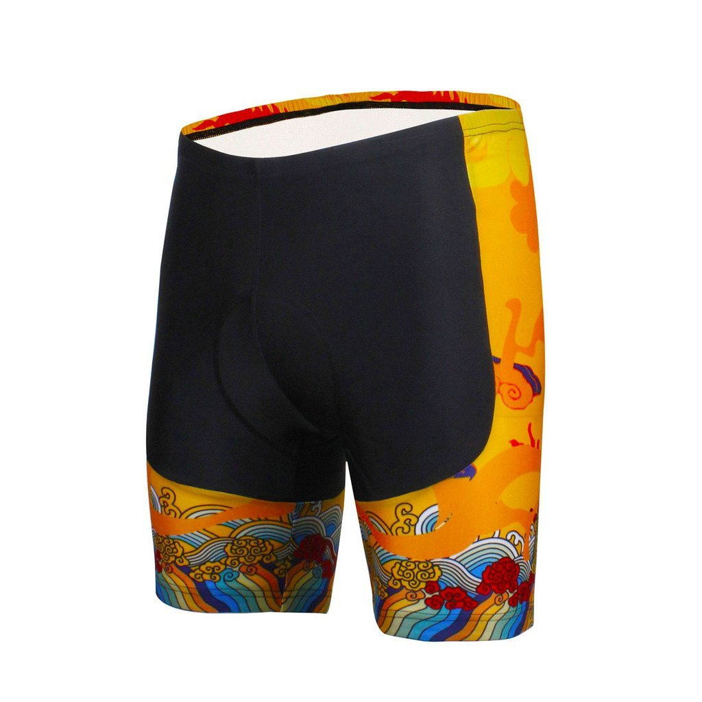 PaladinSport Mens Short Sleeve Cycling Jersey and Shorts Bike Set Chinese Dragon Style Yellow