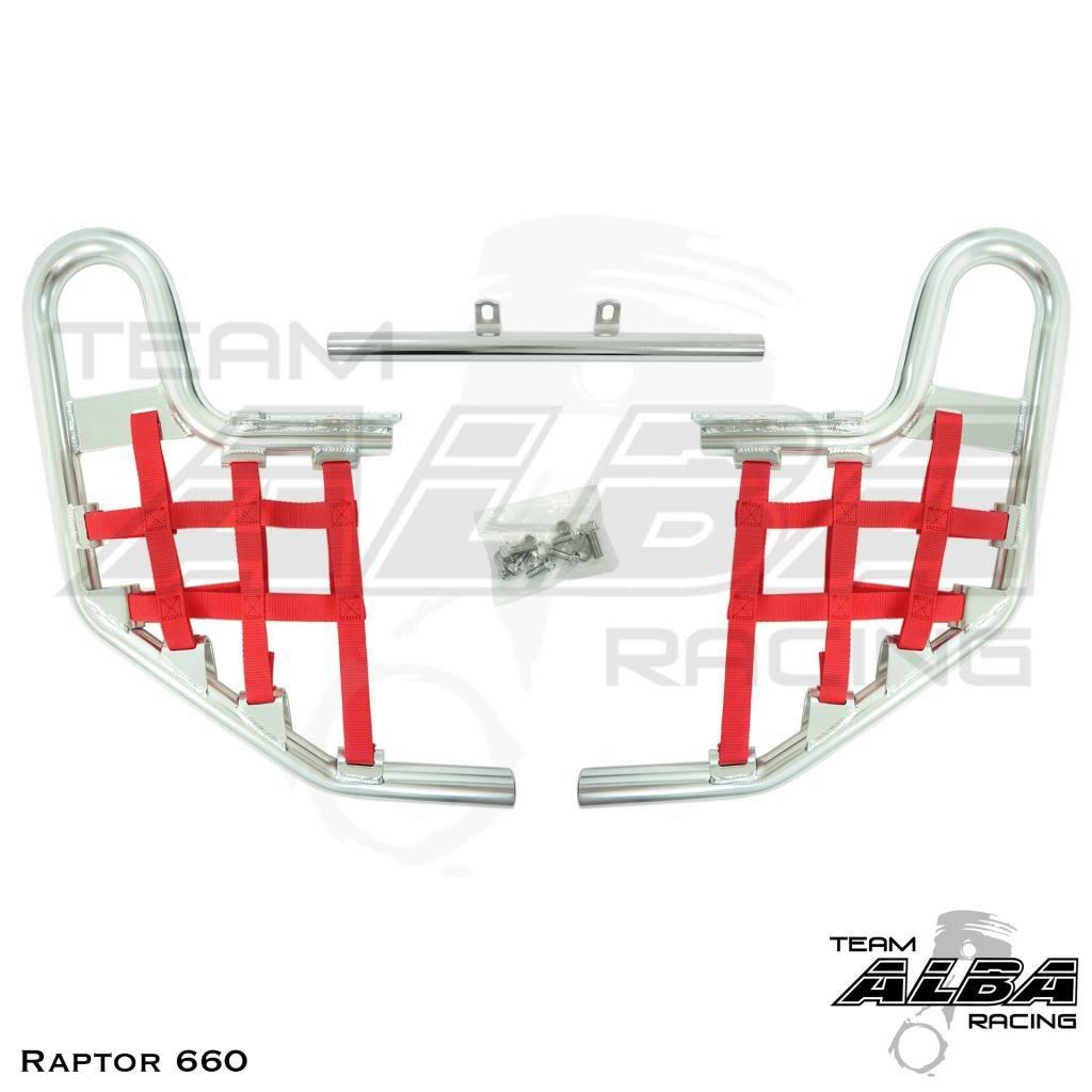 Yamaha Raptor 660 YFM 660R (2001-2005) Standard Nerf Bars Silver w/ Red Net