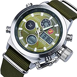 Zeiger Men's Watch Sport Digital Times Waterproof Wrist Watch, Large Big face (Green)