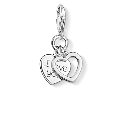 d73d63abd5a Thomas Sabo Women-Charm Pendant I Love You Charm Club 925 Sterling silver  0852-001-12  Amazon.co.uk  Jewellery
