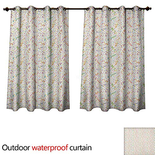 Kline Pattern Sherry (Anshesix Birthday 0utdoor Curtains for Patio Waterproof Festive and Colorful Confetti Pattern Happy Occasion Theme Dots Stars and Streamer W55 x L72(140cm x 183cm))