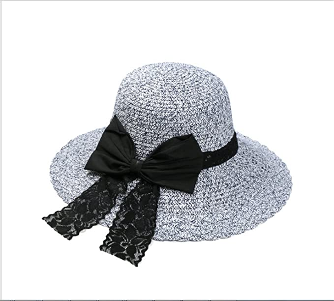 22f1e71dceb virgin hair factory Women Foldable Summer Sun Beach Straw Bowknot Hats Wide  Brim 56-58cm