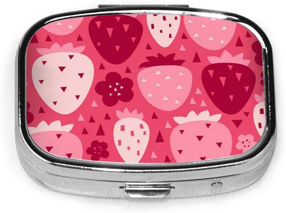 Fresa Caja de píldora cuadrada personalizada personalizada Caja decorativa Contenedor de vitamina Bolsillo o billetera