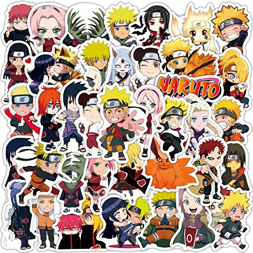 50pcs Naruto Stickers Japanese Anime Stickers Waterproof Vinyl Decal Stickers Skateboard Luggage Stickers for Kids Teens Adults for Water Bottles Laptop Phone Hydroflask