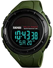 SKMEI Men's Digital Sports Watches, Military Outdoor Waterproof Wrist Watch Multifunction Black Watches for Men