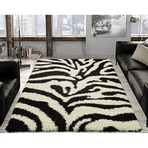 Ottomanson Animal Print Zebra Design High Pile Soft Shag Area Rug, 5 x 7, Black/White