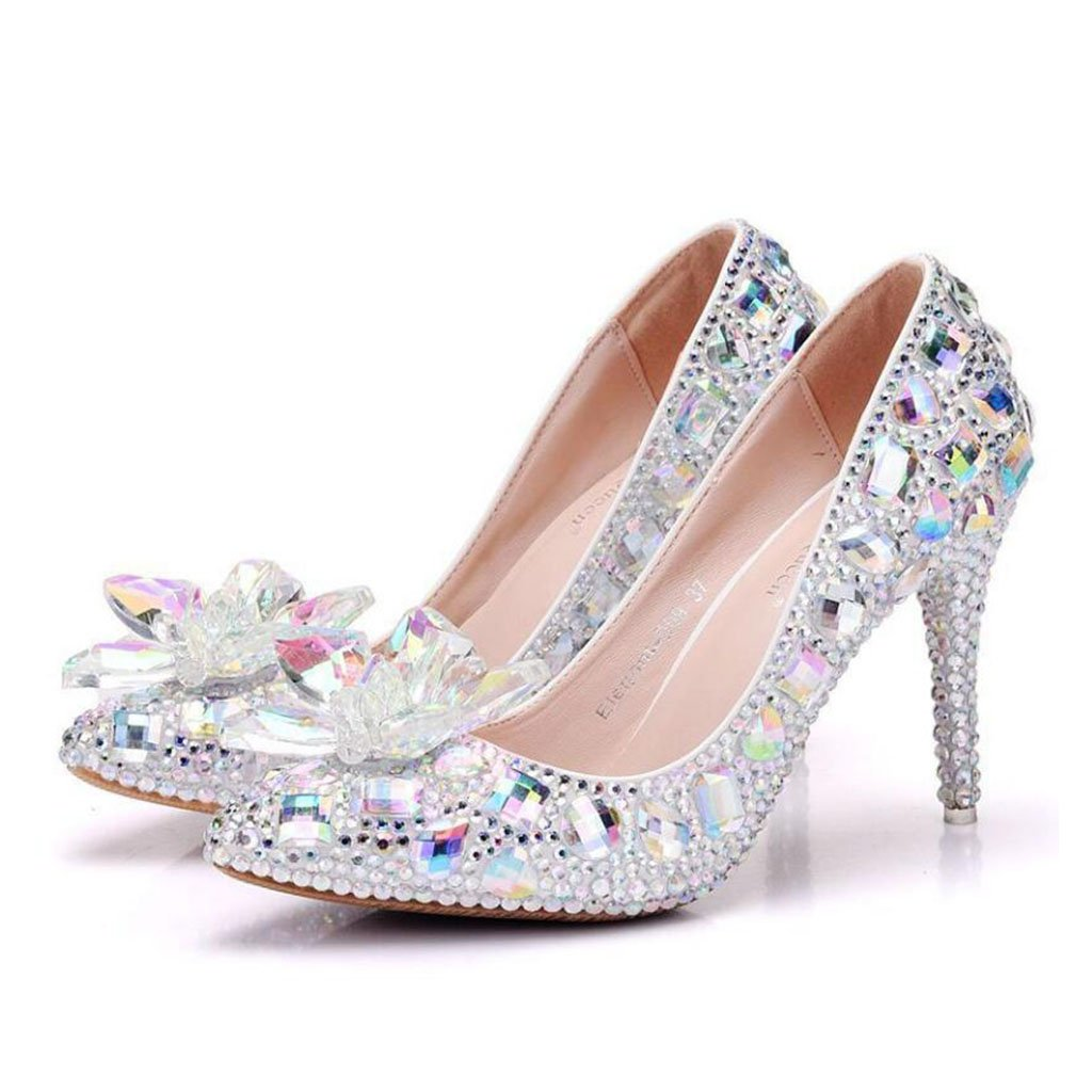 Colour KTYXDE 9 cm Single shoes Crystal Glass Flower High Heels Single shoes Female Rhinestone Pointed Single shoes Large Size shoes Female 34-41 Yards Women's shoes (color   Colour, Size   7 US)