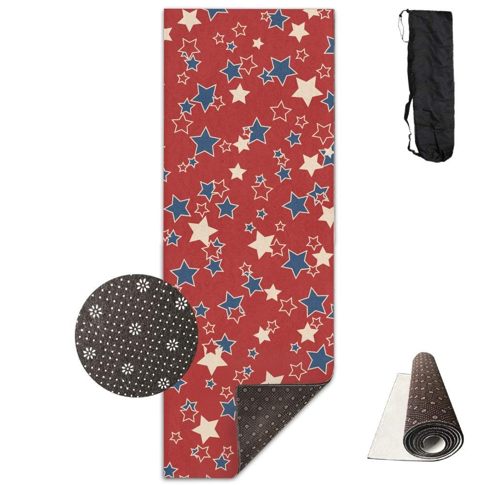 American Patriotic bluee Red Stars Yoga Mat Towel for Bikram Hot Yoga, Yoga and Pilates, Paddle Board Yoga, Sports, Exercise, Fitness Towel