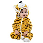 IDGIRLS Unisex Baby Hooded Romper Flannel Animal Jumpsuit Cosplay Outfits(Tiger 90)