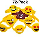 Monqiqi 72Pcs Emoji Bracelets Emoticons Wristbands for Birthday Party Favors Supplies, Party Goodie Bags