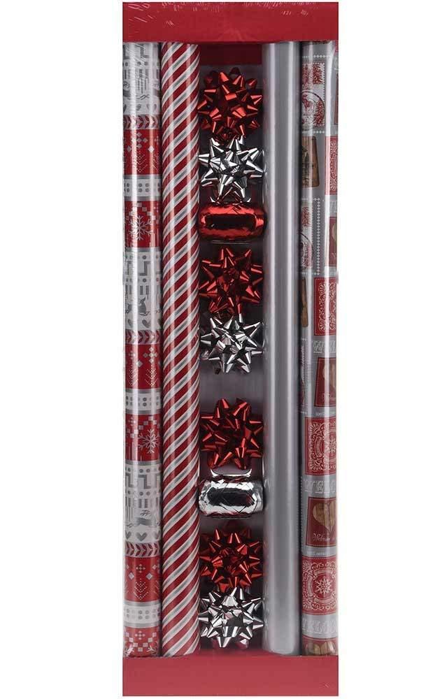made2trade 13 Piezas Juego de Papel 200 de Regalo, 4 x 200 Papel x 70, 2X Silber-Rojo 0b3668