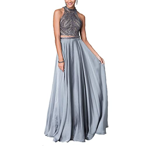 Dearta Womens Two Pieces Jewel Satin Long Homecoming Dresses Party Prom Gowns