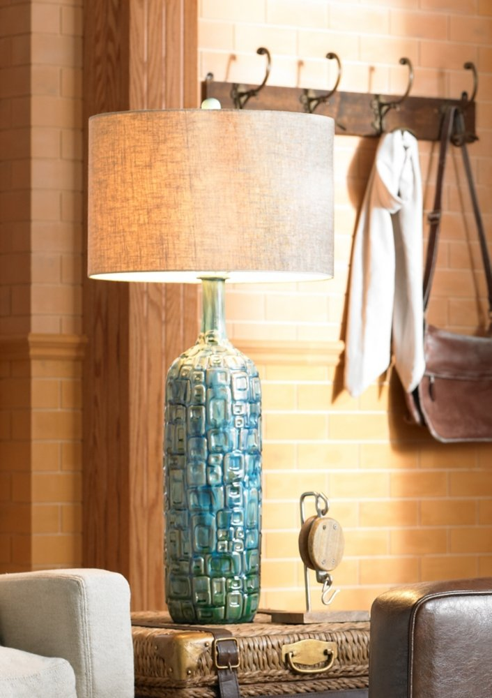 Ceramic Teal Mid-Century Table Lamp by Possini Euro Design