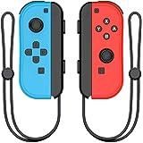 AOKO Joy Con Pad Controlador L-R inalámbrico Gamepad con correa de muñeca para Nintendo Switch, azul y rojo