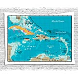Ambesonne Wanderlust Decor Collection, Cuba Map And Caribbean Sea Ocean Geography Political Division Land Borders , Bedroom Living Room Dorm Wall Hanging Tapestry, 60W X 40L Inch