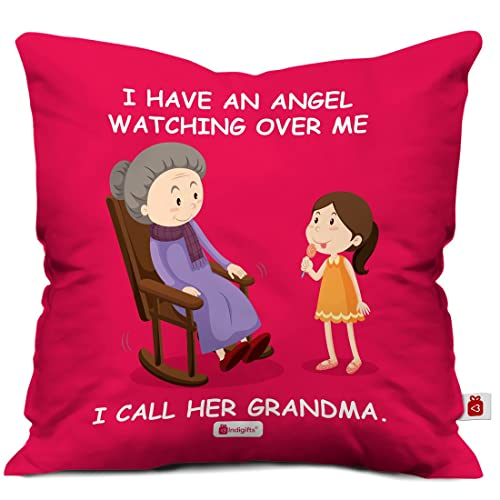 Indigifts Grandparents Special Angel Grandma Red Cushion Cover 12x12 Inch With Filler