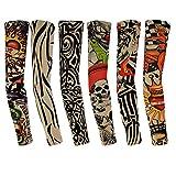 6pcs Temporary Tattoo Sleeves, Rbenxia Arts Fake Body Arm Stockings Sunscreen Temporary Tattoo Sleeves, Tiger, Crown Heart, Skull, Tribal Shape