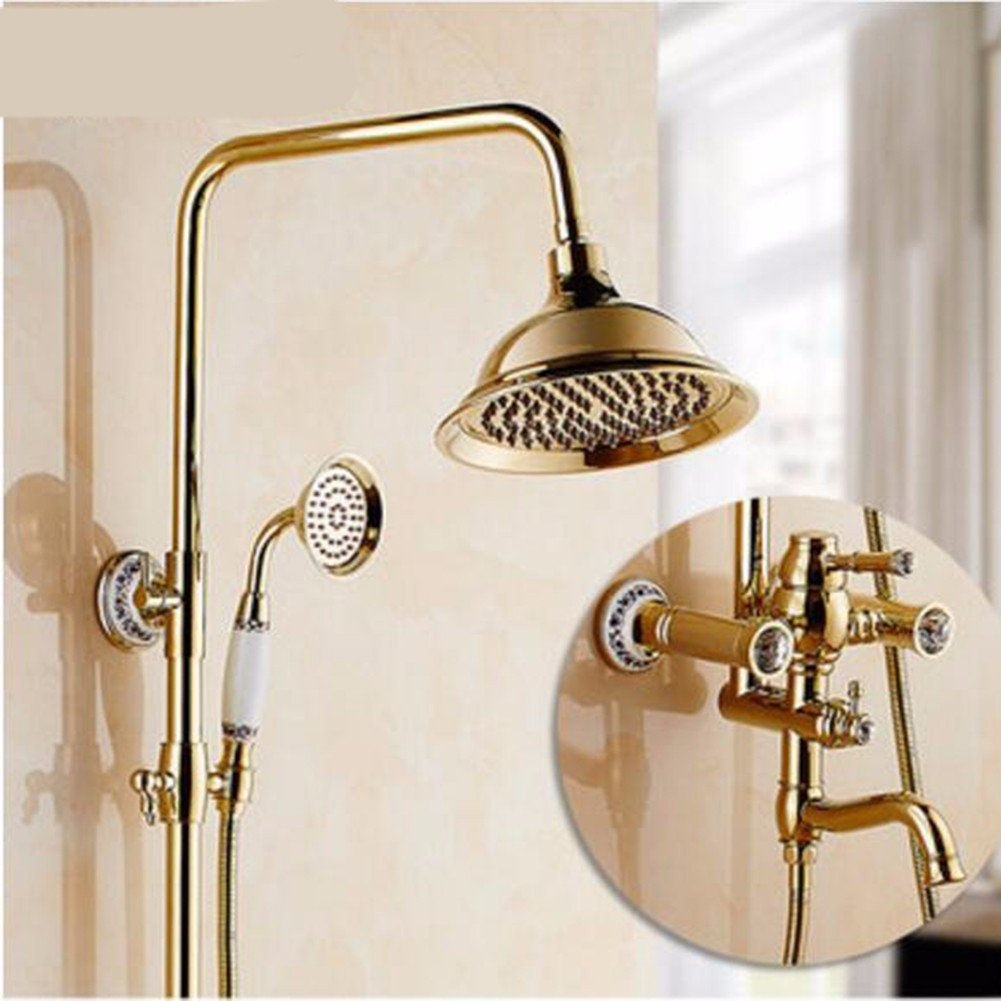 M Shower set European Style gold-Plated Shower Set New Copper Antique Shower Bright gold Retro Shower Shower,L