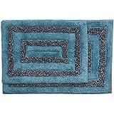 Cotton Craft Bath Rug Set Tweed Race Track Pattern Cotton Spa Blue Chocolate 2 Piece