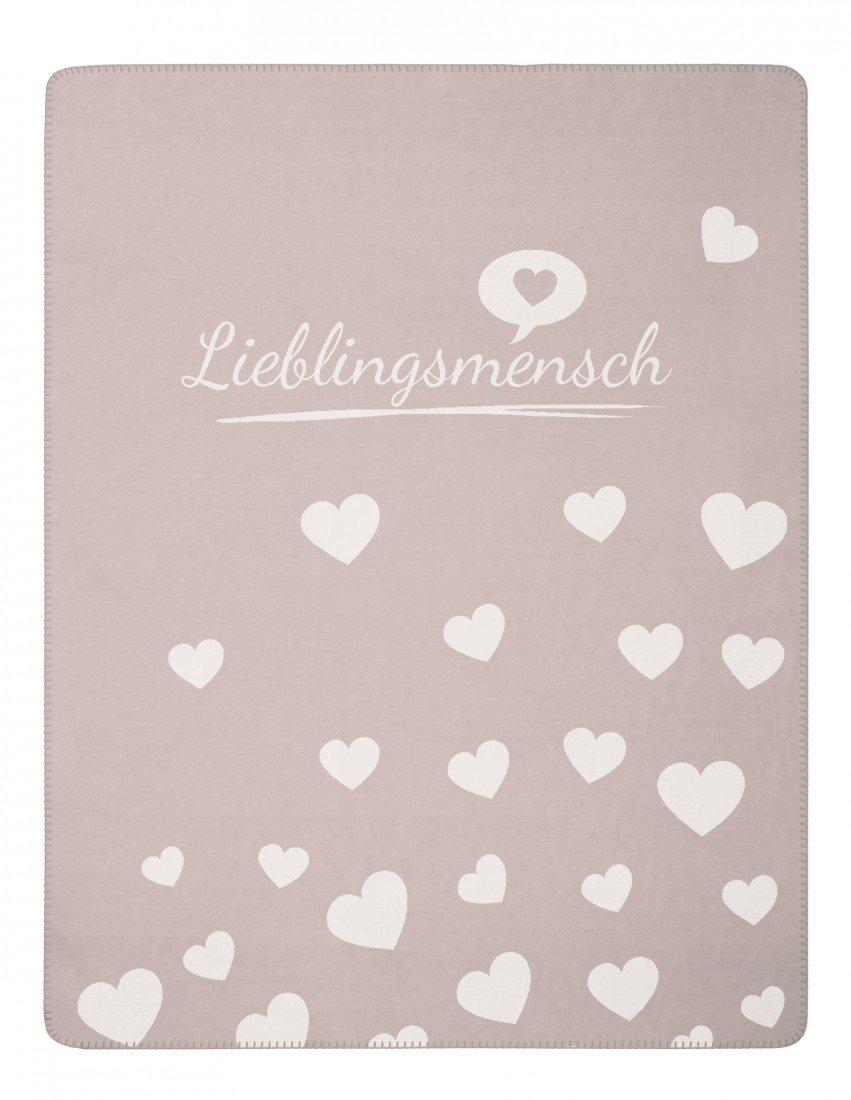 Magma Wohndecke - Lieblingsmensch - 150 x 200 cm - trendige weiche Kuscheldecke mit vielen Herzen - Waschbar bei 30°C, Farbe Magma_rose_051