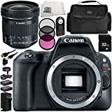 Canon EOS Rebel SL2 DSLR Camera with EF-S 10-18mm f/4.5-5.6 IS STM Lens 11 Accessory Bundle – Includes 32GB SD Memory Card + 2x Replacement Batteries + MORE - International Version (No Warranty)