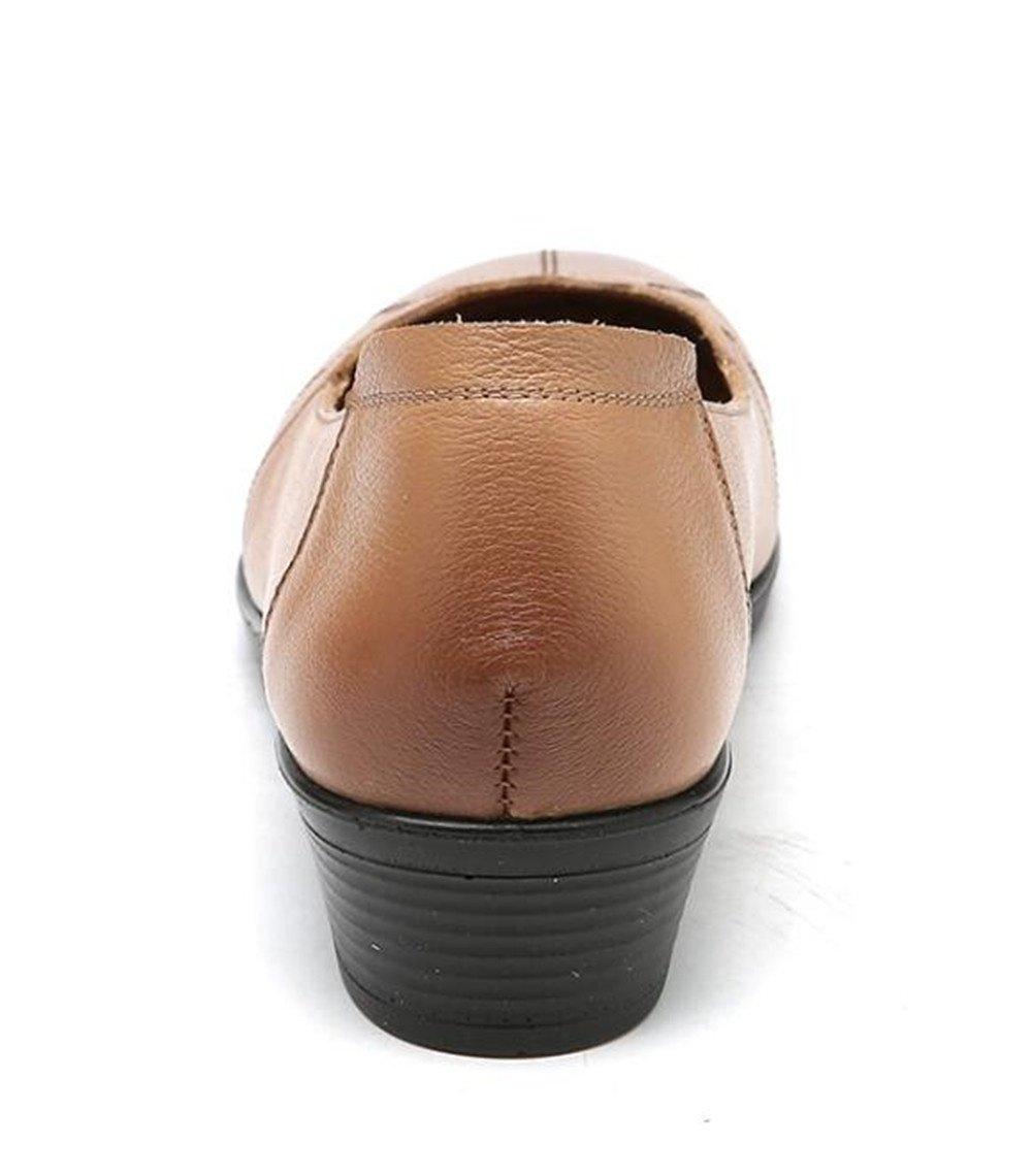 Damenschuhe Leder Schlüpfen Eben Rutschfest & Weiche Sohlen Loafer Büro & Rutschfest Karriere Ballerina Größe 35 bis 39 Braun 45b0d3