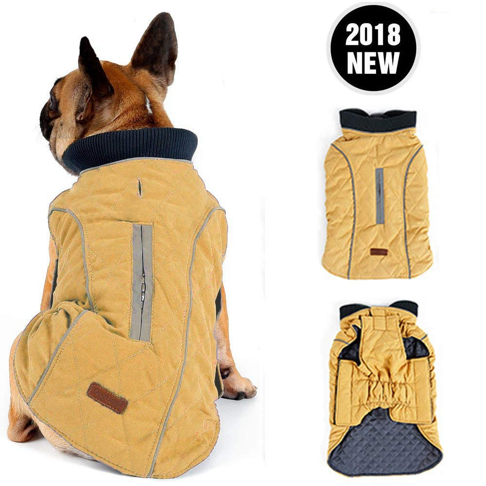 Yellow X-Small (Back Length  24CM 9.44\ Yellow X-Small (Back Length  24CM 9.44\ Morezi Retro Design Cozy Winter Dog Pet Jacket Vest Warm Pet Outfit Clothes Pleat Cotton 2 colors with Harness Hole XS Yellow