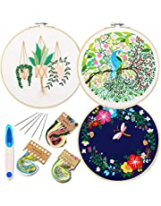Embroidery Starter Kit with Pattern and Instructions, 3 Sets Cross Stitch Kit Include Embroidery Clothes with Plants Flowers Pattern, 1 Embroidery Hoops, Color Threads and Tools