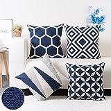 baibu Cotton Decor Throw Pillow Case Embroidery Geometric Design Pattern Cushion Covers Dark Blue 4PCS