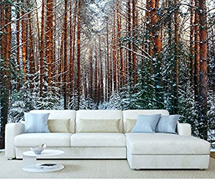 stickerswall winter snow tree woodland forest trees landscapetree woodland forest trees landscape scenery wall mural photo wallpaper picture self adhesive 1030 (342cm(w) x 242cm(h)) amazon co uk kitchen \u0026 home