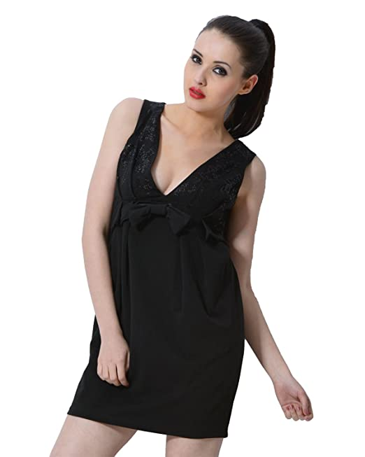 566ede39ac trendy divva Black Little Dress with V-Neckline  Amazon.in  Clothing    Accessories