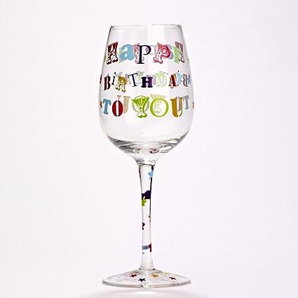 rachel ellen designs birthday wine glass happy birthday to you - Happy Birthday Wine Glass
