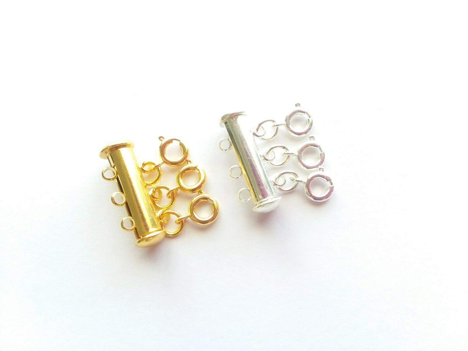 Layered Necklace Spacer Clasp Multi-Strand Layered Necklace Spacer Detangler Clasp - Make You More Clean and Professional 2PCS (Silver & Gold Plated, 3 Strand) by EBINGMIMA
