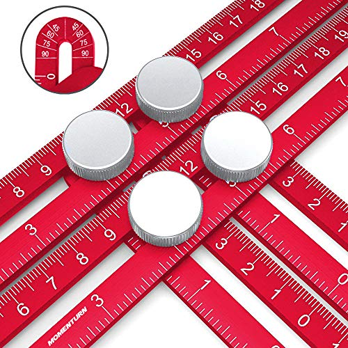 Angulizer Multi-Angle Template Ruler | Ultimate Easy Angleizer | Universal Full Metal Anglizer Jig | Irregular Shape Copy Tool | Crafter Layout Stencil | Red