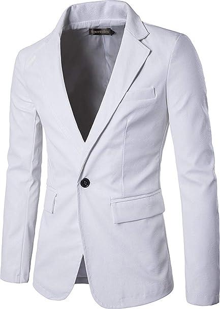 Chaquetas para Hombre De Imitación De Cuero De Moda Ropa Slim Fit Un Botón Blazer Chaqueta