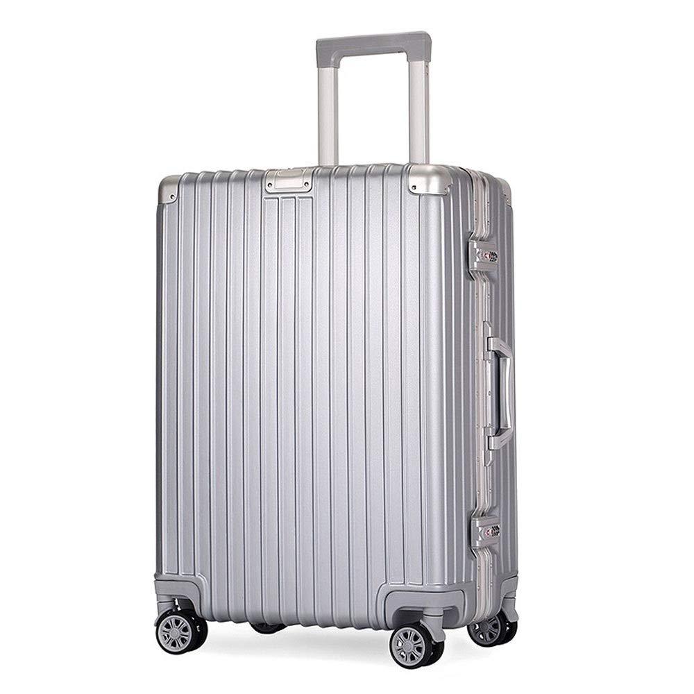 旅行携帯用アルミニウムフレームの普遍的な車輪のトロリー箱/搭乗パスワード箱/スーツケース (色 : シルバー しるば゜, サイズ さいず : 54x34x22cm)   B07R6PKZYT