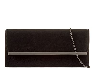 3c55528c8fb LeahWard Women's Suede Flap Clutch Bag Wedding Night Out Handbag Evening  Purse 717 (Black)