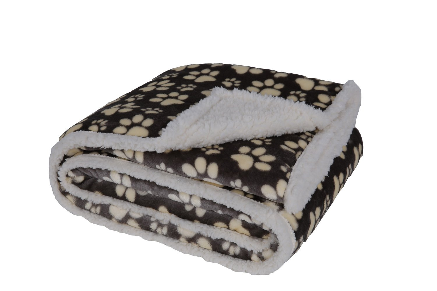 HappyCare Textiles 047393528902 Printed dog paw Flannel reverse to sherpa throw blanket, Gray