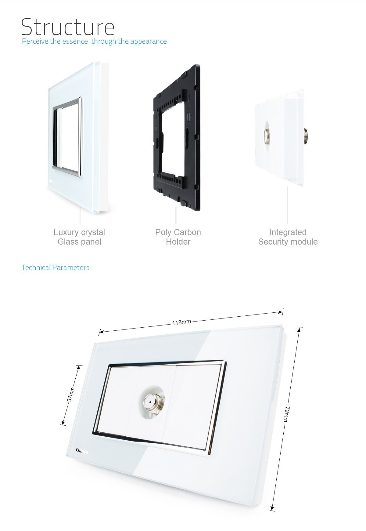 LIVOLO White US Standard 1 Gang Satellite TV Socket With Luxury Tempered Glass Panel, C391ST-81 by LIVOLO (Image #4)