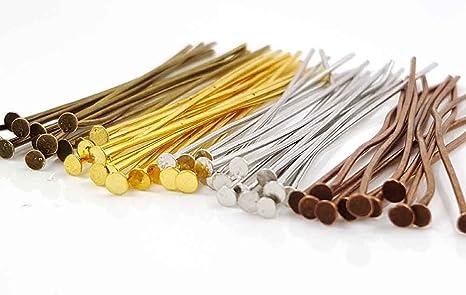Lot 200 GOLD Plated Brass HEADPINS 2 inch 21 gauge No Lead No Nickel Head Pins
