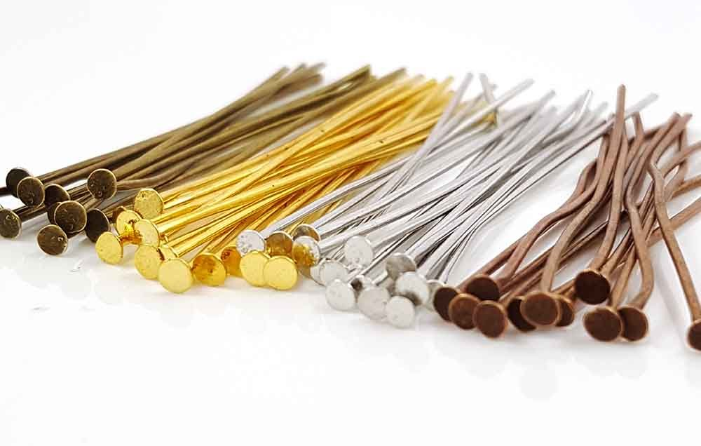 150pc Gold Flat Head Pins for Jewelry Making- Hypoallergenic Nickel Free- 70mm (3 inch) 20 Gauge Sodacraft