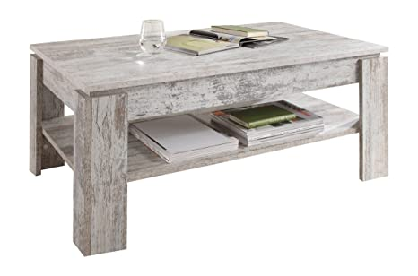 trendteam Mesa de centro Mesa de salón Universal, 110 x 47 x 65 cm en acabado pino piñonero blanco shabby chic con repisa